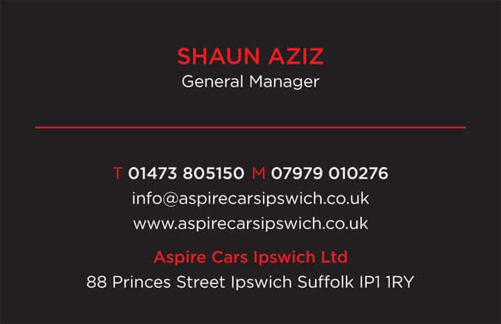 Aspire Cars Business Card back